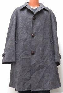 vtg Pendleton GRAY HERRINGBONE WOOL COAT 44L Satin Lining 44 LONG black specks L