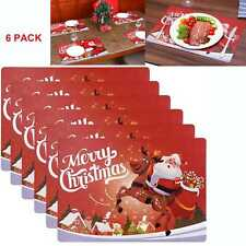 6pcs Dining Table Place Mats PVC Placemats Pad Weave Woven Effect Modern XMAS