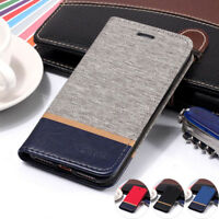 For iPhone XR XS Max 6S 7 8 Plus Flip Wallet Case Magnetic Canvas Leather Cover