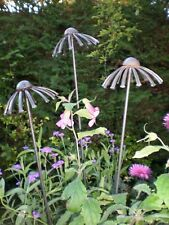 3 Echinacea Plant Stakes, Supports, Sculptures,Unique,Metal, Garden, Handcrafted
