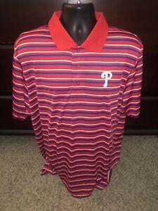 Philadelphia Phillies Golf Polo Shirt by Majestic Cool Base Striped Mens XL NWT