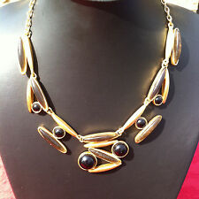 DOLCE VITA Collier doré - Vintage - Necklace signed Gold tone metal & back beads