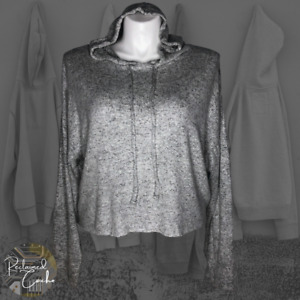 So Womens Gray Long Sleeve Cropped Cozy Pullover Hoodie Hooded Top Size XXL