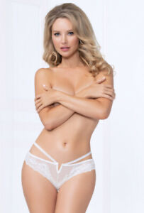Sexy white strappy lace plunging g-string panty