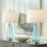Dylan Blue Glass Coastal Modern Table Lamps Set of 2