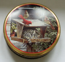 New listing vintage metal container Persis Clayton Weirs illustration cat with red birds