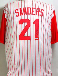 Deion Sanders Autographed Cincinnati Reds P/S Jersey- Beckett Witnessed