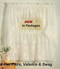 WHITE VOILE SHEER Cafe Kitchen Curtain Window Swag Pair, Valance & 2 Tier Pairs