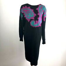 New listing Darian Vintage Sweater Dress 80s Women's Size Medium Black Paisley Pattern