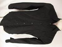 Ermenegildo Z Zegna Mens Black Long Sleeve Cotton Camp Shirt L Italy Made