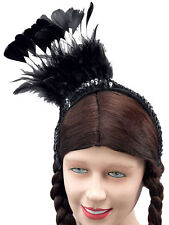 Burlesque Black Feather Sequin Headpiece One Size Womens Fancy Dress Ladies New