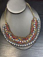 "Vintage Bohemian Glass Colorful  Rhinestone Bib Statement Necklace 16"""