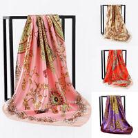 Women Print Hijab Scarf Silk-Satin Square Head Shawl Scarfs Gift Summer 90*90cm
