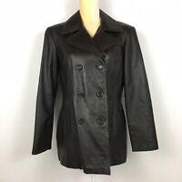 Jacqueline Ferrar Black Genuine Leather Jacket Button Double Breasted Pockets M