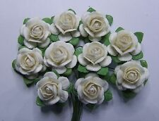 # 10 Medium White Mulberry Roses on stems by Green Tara