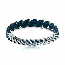 Genuine Marquise Cut London Blue Topaz Full Eternity Wedding Ring 14k White Gold