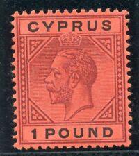 Cyprus 1921 KGV £1 purple & black/red MLH. SG 101. Sc 88.