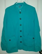 FRESH PRODUCE LIGHT WEIGHT BUTTON UP AQUA JACKET  Size Large Style 20007