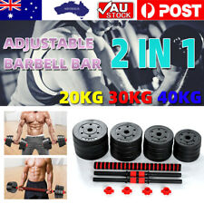 Adjustable Rubber Dumbbell Set Barbell Home GYM Fitness Workout Weights Exercise
