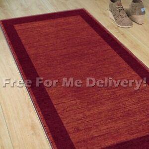 JASPER BORDER FRAME RED SIMPLE DESIGN FLOOR RUG RUNNER 80cm WIDE **ANY LENGTH**