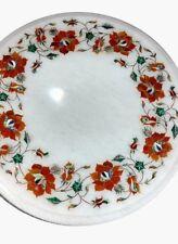 "12"" white Marble table top multi Semi Precious stones handmade Inlay work decor"