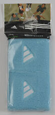 ADIDAS CLIMALITE WRISTBANDS/SWEATBANDS BLUE/WHITE COTTON/STRETCH NYLON ONE PAIR