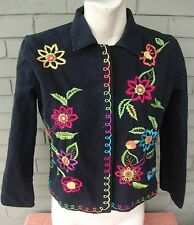 Hearts of Palm Made in India Embroidered Floral Heavy Cotton Blazer Size 8