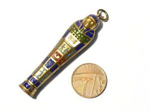 Antique Egyptian Revival Gilt & Enamel Retracting Pencil Sarcophagus 6cm #T144B