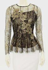 Beautiful Designer OSCAR DE LA RENTA Metallic Gold Lace Peplum Top &Camisole Set