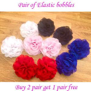 3 inch Girls flower elastic bobbles Bow School Baby lot Hair flower kids Pair