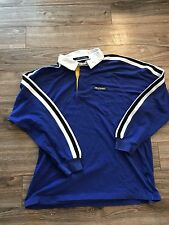 VTG 90s Tommy Hilfiger Athletics Blue Striped Spellout Flag Box Logo Polo Sz XL