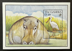 GAMBIA WILDLIFE STAMPS SS 1991 MNH AFRICAN SPOONBILL BIRDS HIPPOPOTAMUS ANIMALS