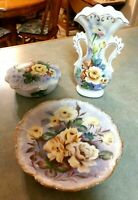VINTAGE UNAGCO MADE IN JAPAN 3-PIECE PORCELAIN (ROSES) BATHROOM SET
