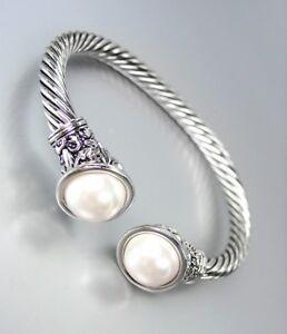NEW Designer BALINESE Silver Floral Filigree Hearts CZ Crystals Pearl Bracelet