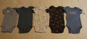 Carter's Boys 5 Piece Short Sleeve Animal Theme Bodysuit SV3 Blue Size 3M
