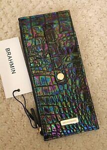 Brahmin Melbourne Credit Card Slim Wallet Iridescent Lthr BLACK PEARL OMBRE NWT