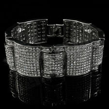 14k White Gold Iced Out Simulated Diamond MicroPave HipHop Bracelet 3