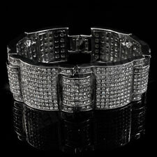 14k White Gold Iced Out Simulated Diamond Micro Pave Hip Hop Bracelet 3