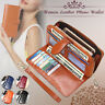 7.4 Inch Woman PU Leather Zipper Large Wallet Bag Purse Card Holder Phone Pocket