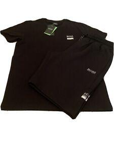 "Mens Hugo Boss Tshirt Short Sets Large 40"" Chest 34""waist £79.99 Black/silver"