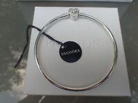 "Pandora Bangle Bracelet WISHFUL HEART 590729CZ  Family Forever 21cm = 8.3"""