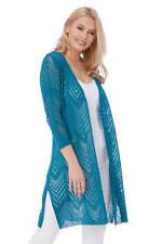 Roman Originals Women's Turqouise 3/4 Sleeve Drop Needle Cardigan Sizes 10-20