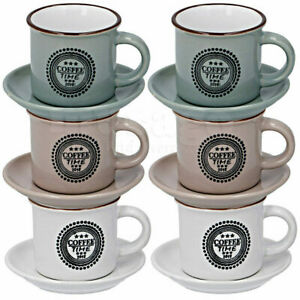12 tlg Espressotassen & Untertassen Set Vintage Espresso 6 Tassen + 6 Teller