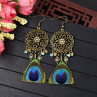 Women Bohemian Boho Style Peacock Feather Flower Hook Drop Dangle Beads Earrings