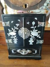 Vintage Black Lacquer & Mother Of Pearl Jewelry Box