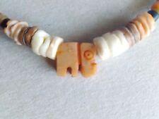 Necklace Carved Elephant Stone Pendant Vintage Gift Charm Bead Stones Handmade