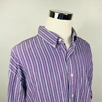 NWT Polo Ralph Lauren Mens 3XB Big Classic Fit Shirt Purple Green Striped Cotton