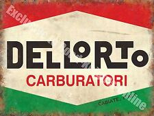 Dellorto Carburetor, 157 Vintage Garage Ittalian Car Parts, Small Metal Tin Sign