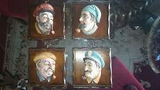 Set of 4 Vintage Lefton Nautical Porcelain Faces / Heads on Wood Plaques ~ Mint