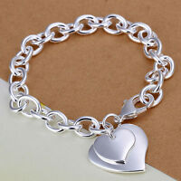 Nueva moda mujer de plata elegante doble corazon amor joyas pulsera ajustable